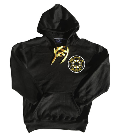 Believe In Boston Hockey Lace Hoodie