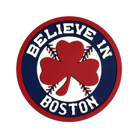 Believe in Boston - Red Shamrock Magnet