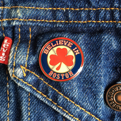 Believe in Boston - Red Shamrock Enamel Pin