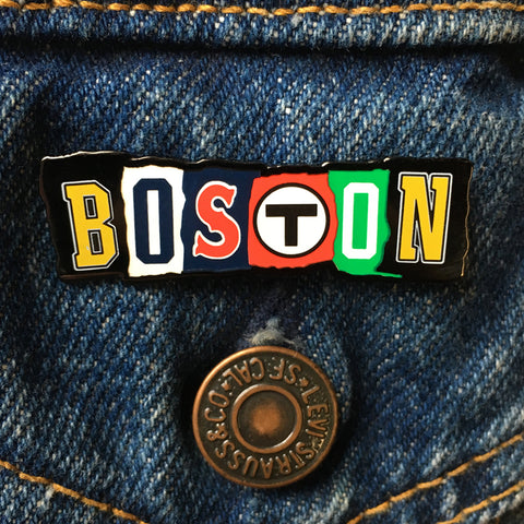 Boston Ransom Note Enamel Pin