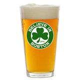 Believe In Boston Green Shamrock Pint Glass