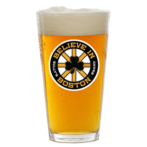 Believe In Boston Black and Gold Shamrock Pint Glass