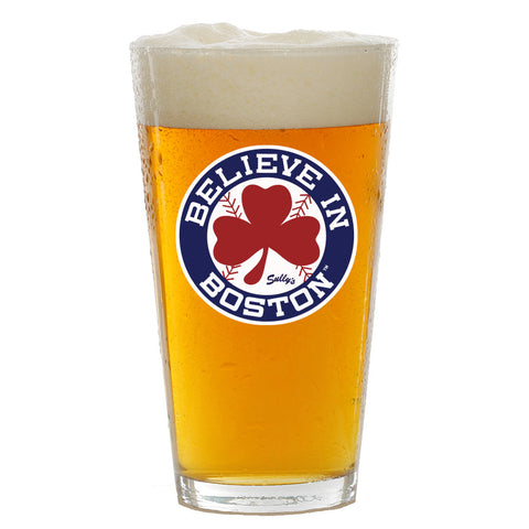 Believe In Boston Red Shamrock Pint Glass