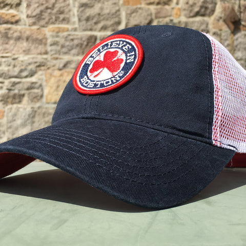 Believe in Boston Red Shamrock Mesh Trucker Hat