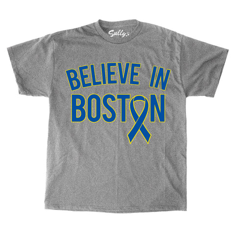 Believe in Boston - Blue & Yellow Benefit Ribbon T-Shirt