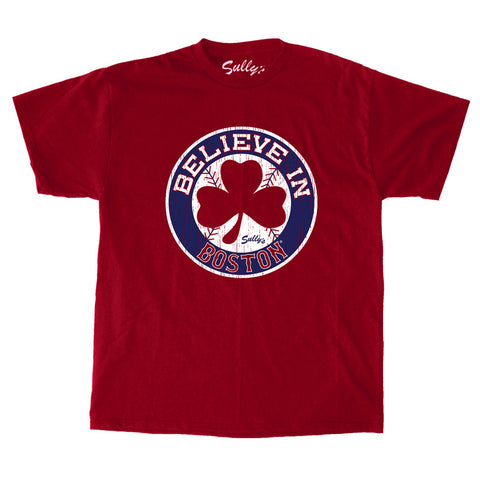 Believe in Boston - Distressed Red Shamrock T-Shirt