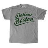 Believe in Boston - Gray Script T-Shirt