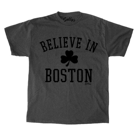Believe In Boston - Classic Shamrock - Charcoal T-Shirt