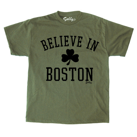 Believe in Boston - Classic Shamrock - Military Green