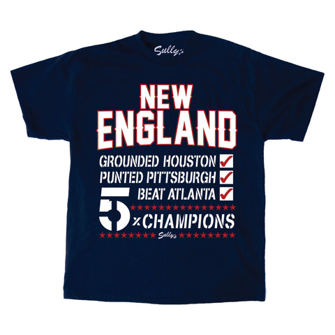 New England 5x Champs Checklist T-Shirt