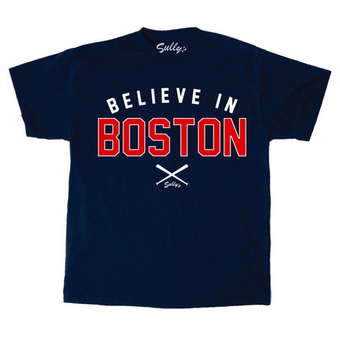 Believe in Boston - Navy Crossed Bats - T-Shirt