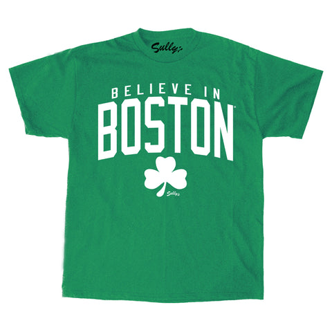 Believe in Boston - Heather Green Shamrock - T-Shirt
