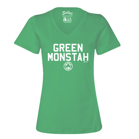 Green Monstah Relaxed Fit Women's V Neck