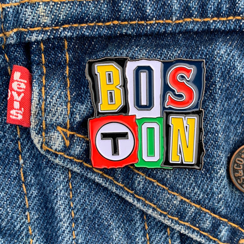 Square BOSTON Ransom Note Enamel Pin