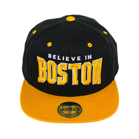 Believe in Boston - Black & Gold Snapback Hat