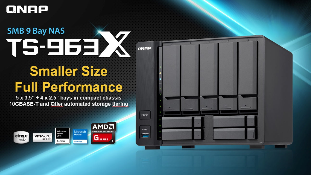 QNAP TS-963X Cost-effective quad-core AMD NAS with 10GBASE-T