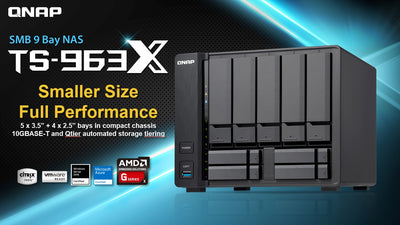 QNAP TS-963X Cost-effective quad-core AMD NAS with 10GBASE-T inclusive