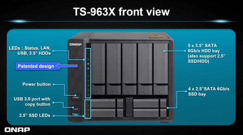 QNAP TS-963X Cost-effective quad-core AMD NAS with