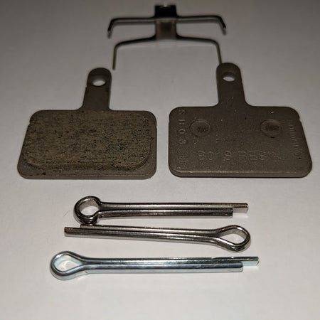 Shimano - B01S disc brake pads and spring, steel backed, resin