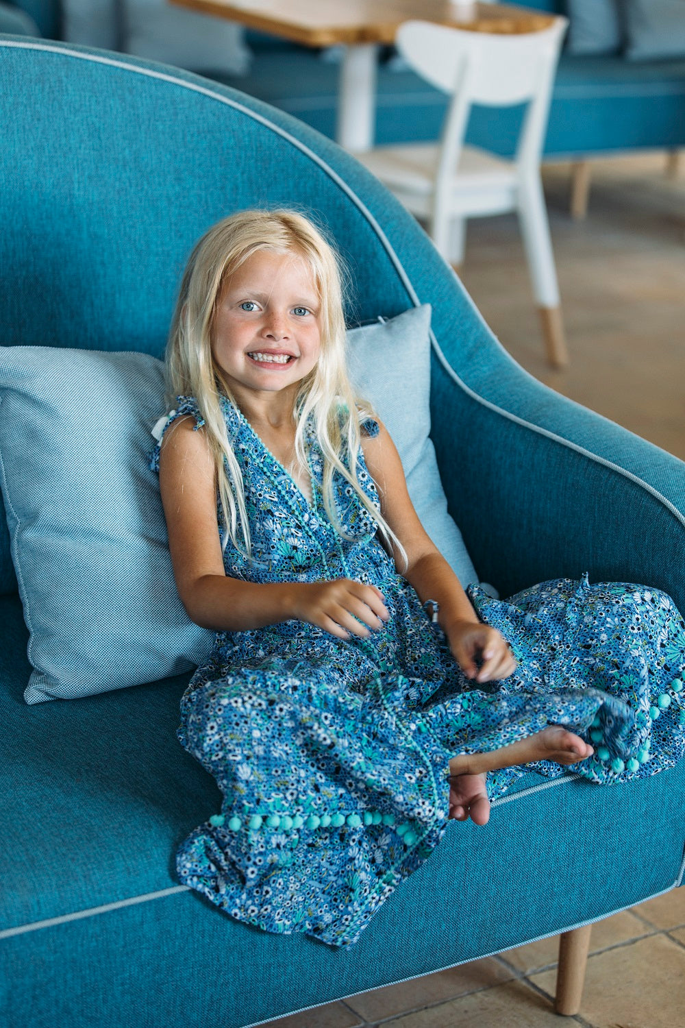 Kids Long Dress Ivy Panelled - Blue Malva