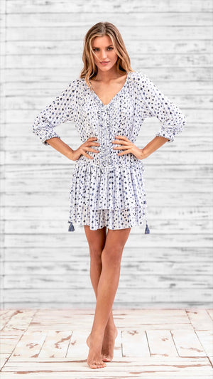 DRESS TUNICA ALICIA - WHITE BLUE FLOWER STRIPES