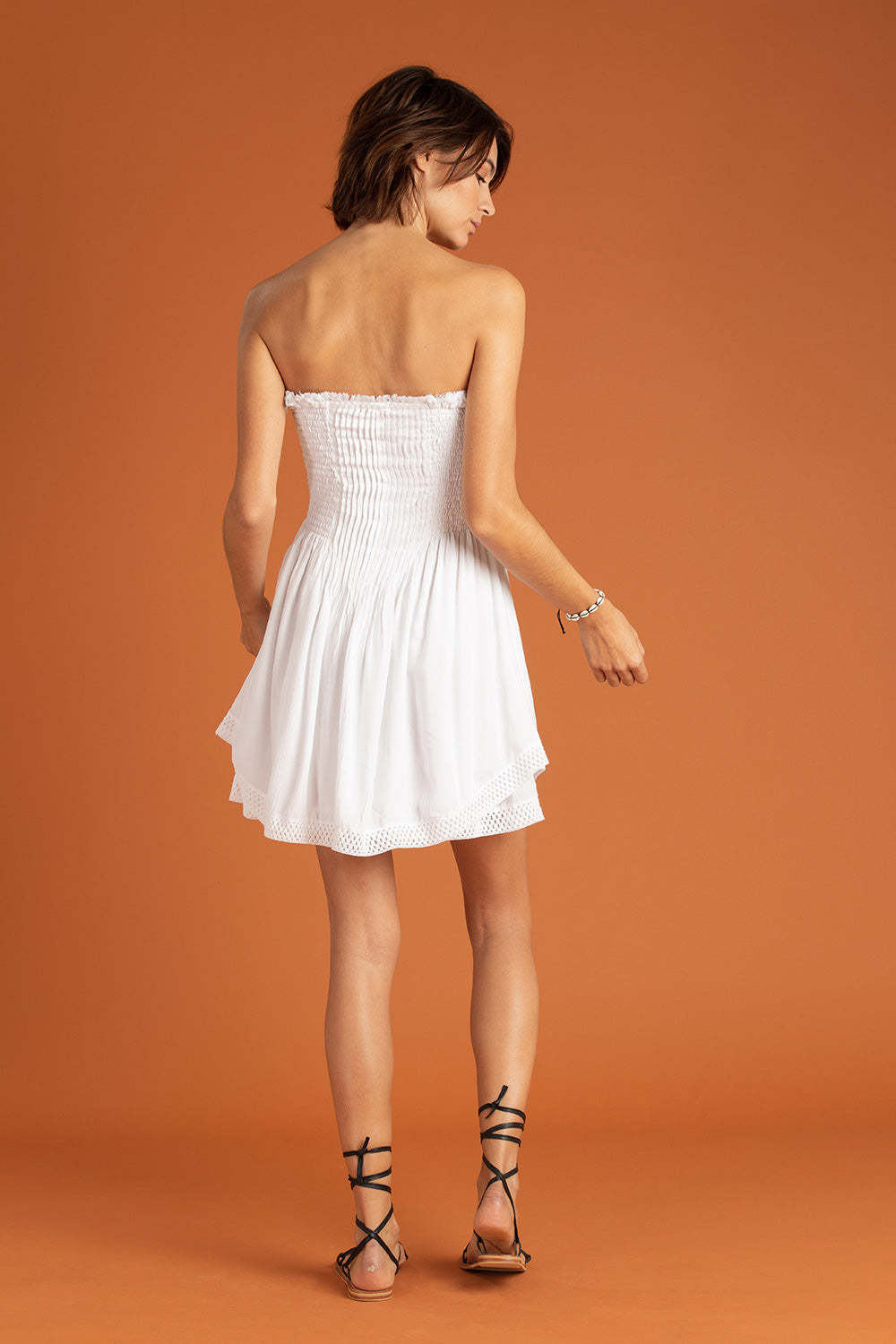 Bandeau Dress Laeti Pleated - White