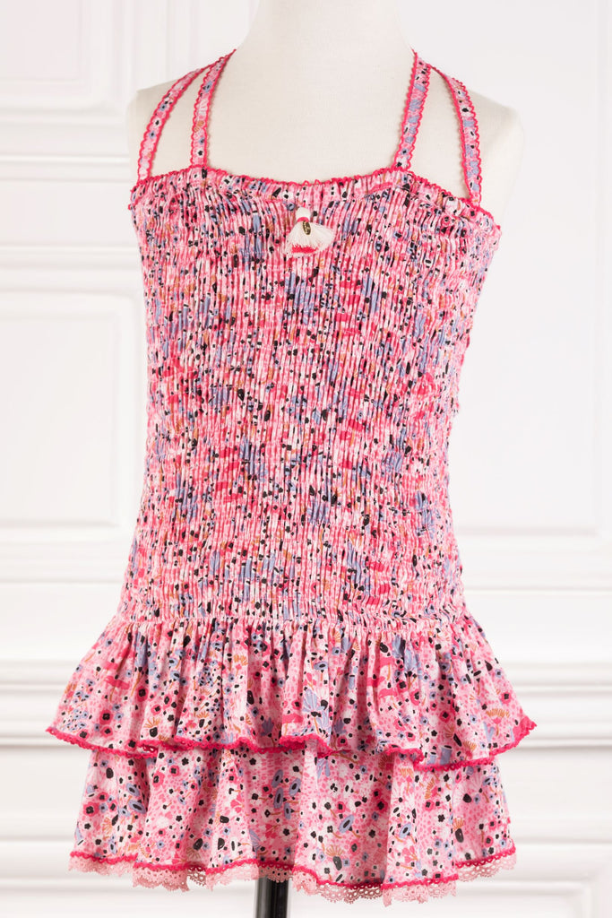 Kids Bandeau Dress Yoana Smocked - Pink Malva