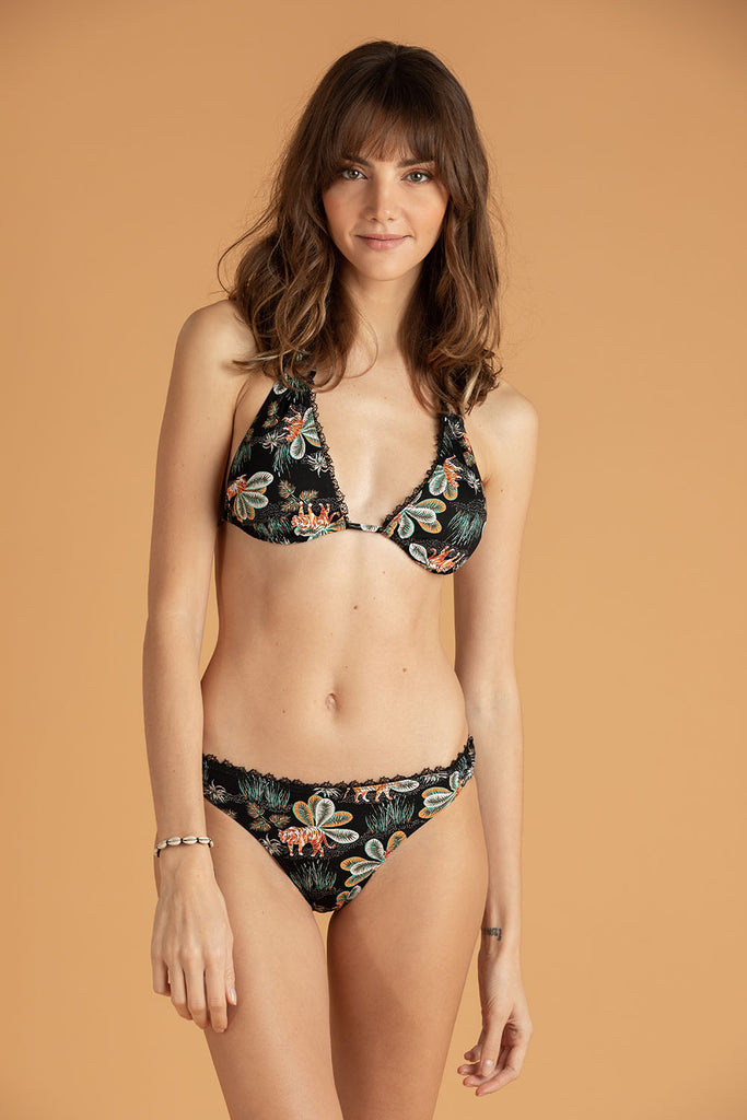 Bikini Bottom Molly Lace Trimmed - Black Tiger