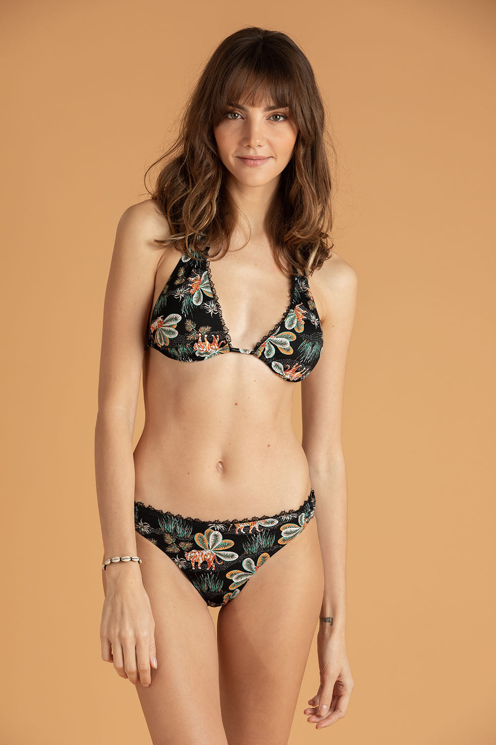 Bikini Top Molly Lace Trimmed - Black Tiger