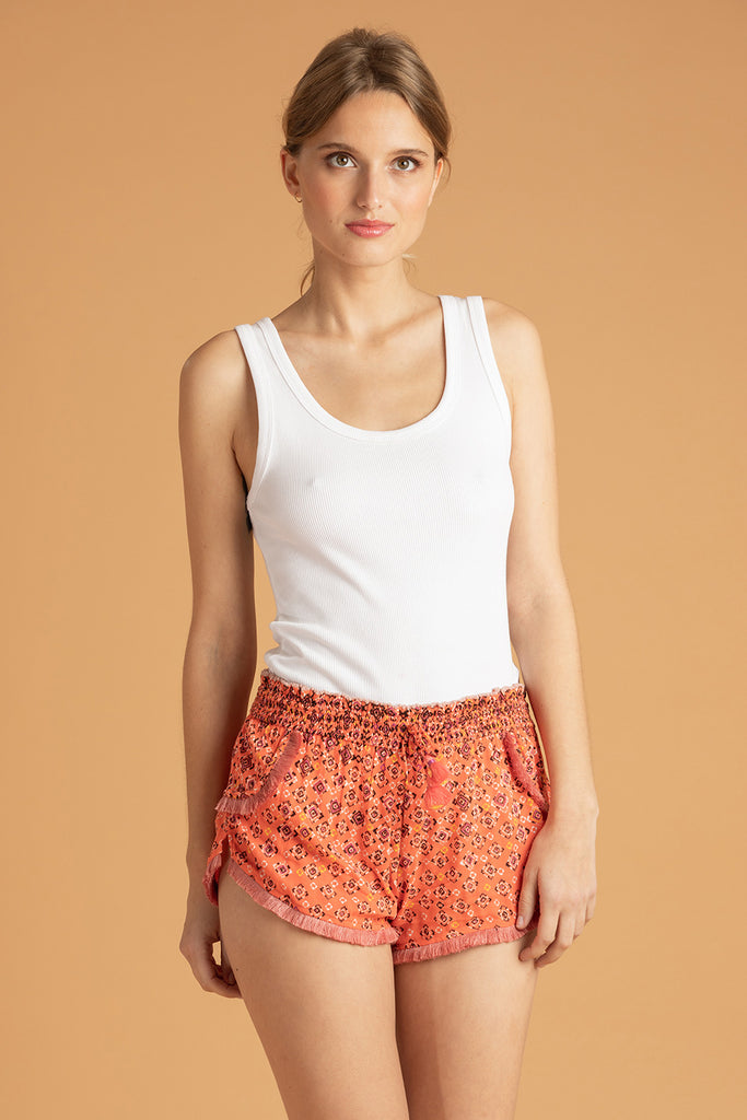 Boxer Short Lulu Lace Trimmed - Orange Mirror