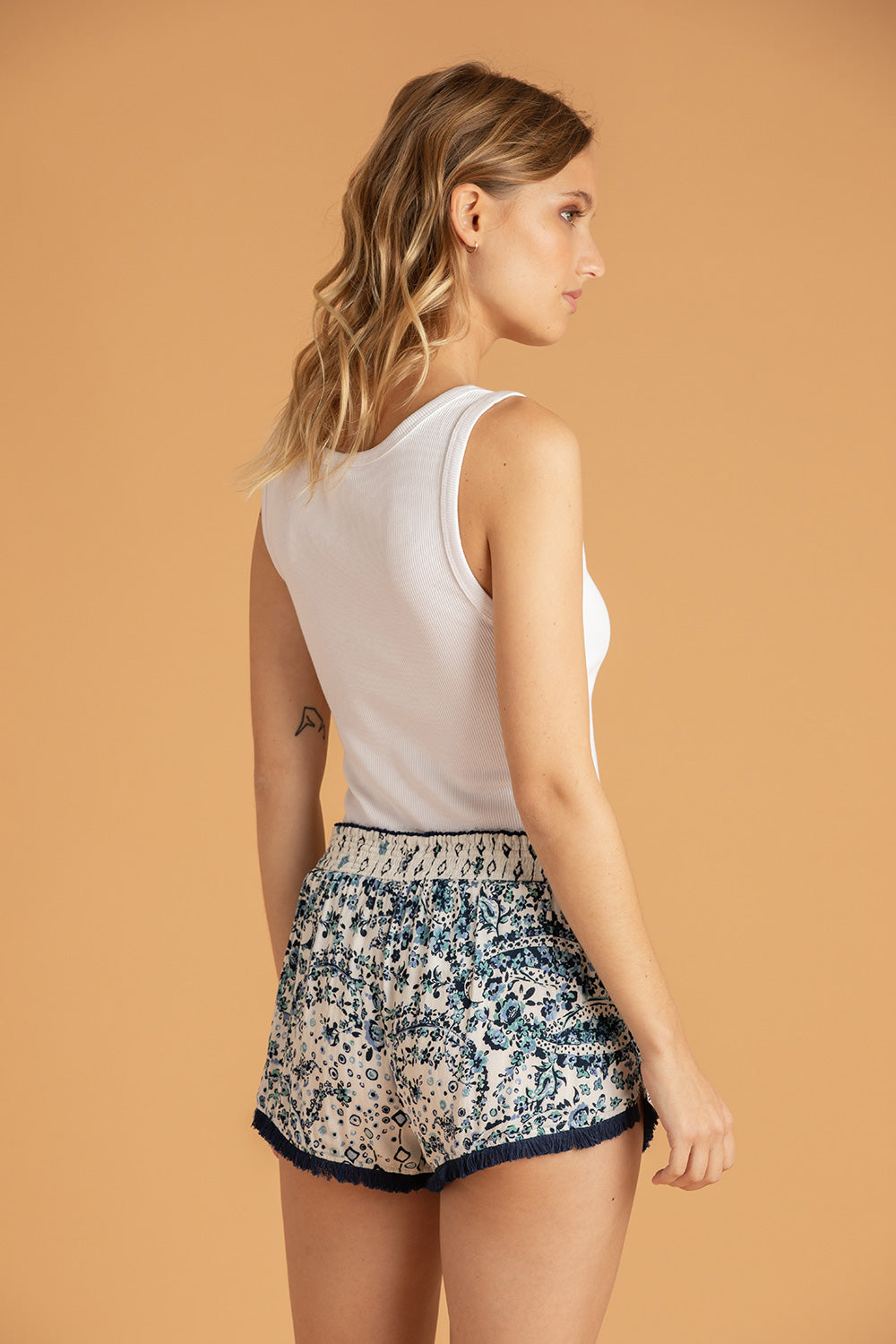 Boxer Short Lulu Lace Trimmed - White Blue Paisley