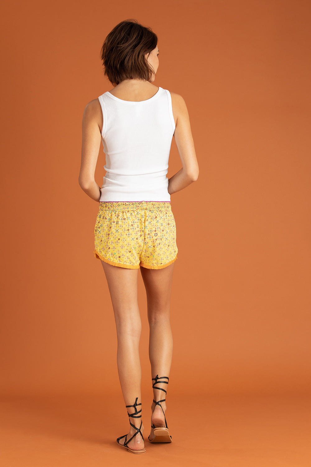 Boxer Short Lulu Lace Trimmed - Yellow Mirror