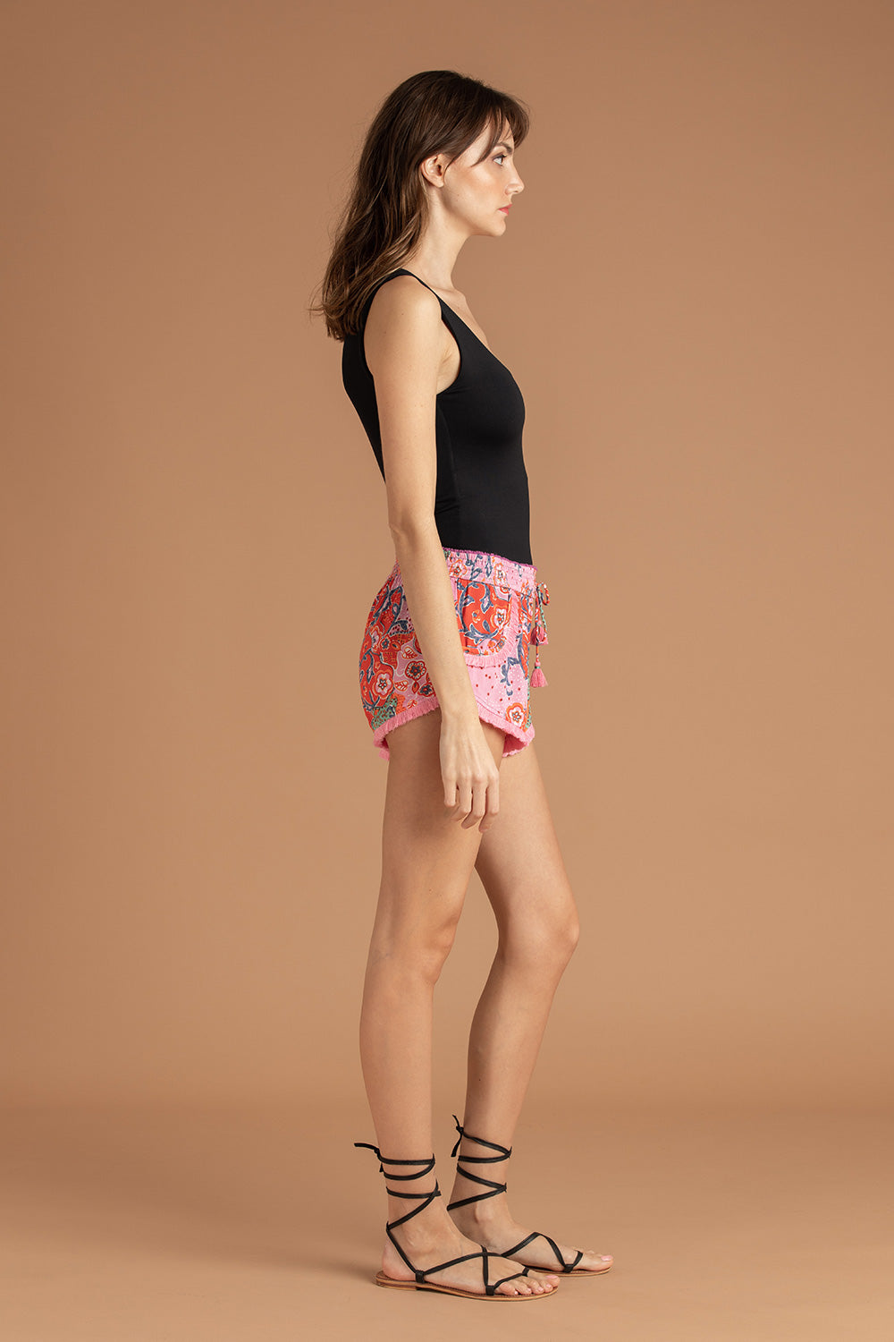 Boxer Short Lulu Lace Trimmed - Green Peony