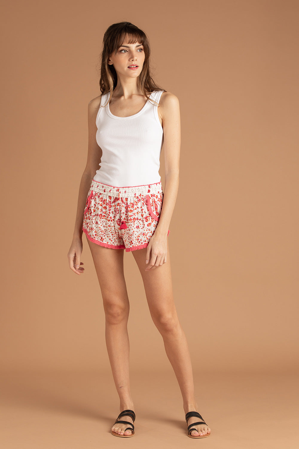 Boxer Short Lulu Lace Trimmed - White Pink Paisley