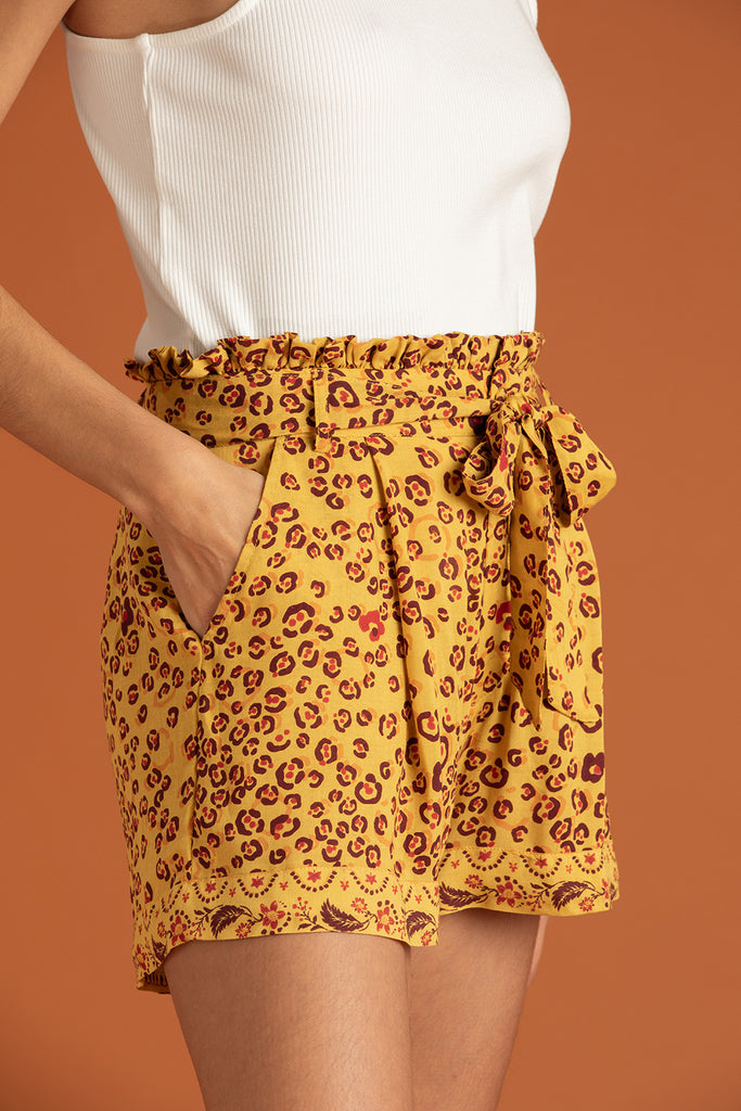 Boxer Short Rachel Ruffled - Yellow Leo