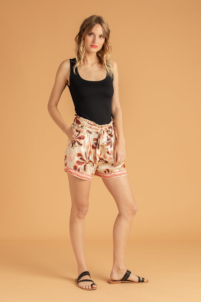 Boxer Short Rachel Ruffled - Off White Tiger