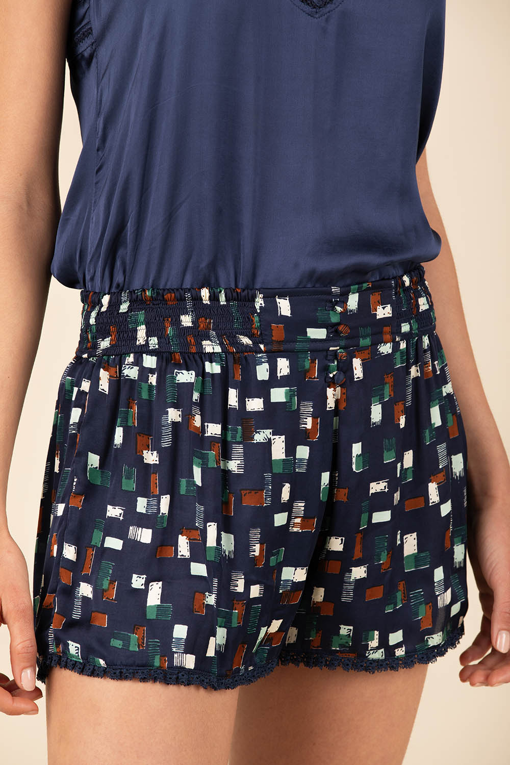 Boxer Short Anita Buttoned - Navy Square