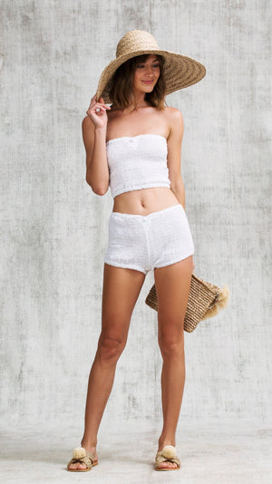 BANDEAU SMOCKED - WHITE