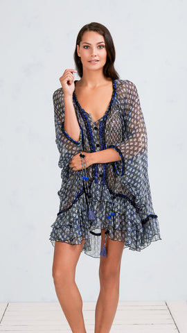 DRESS PONCHO BETY - BLACK VENIZIA