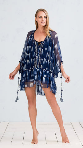 DRESS PONCHO BETY - NAVY WHITE BRUSH