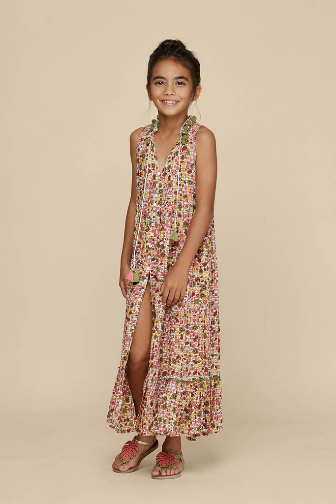 Kids Long Dress Clara Sleeveless - Pink Bloom