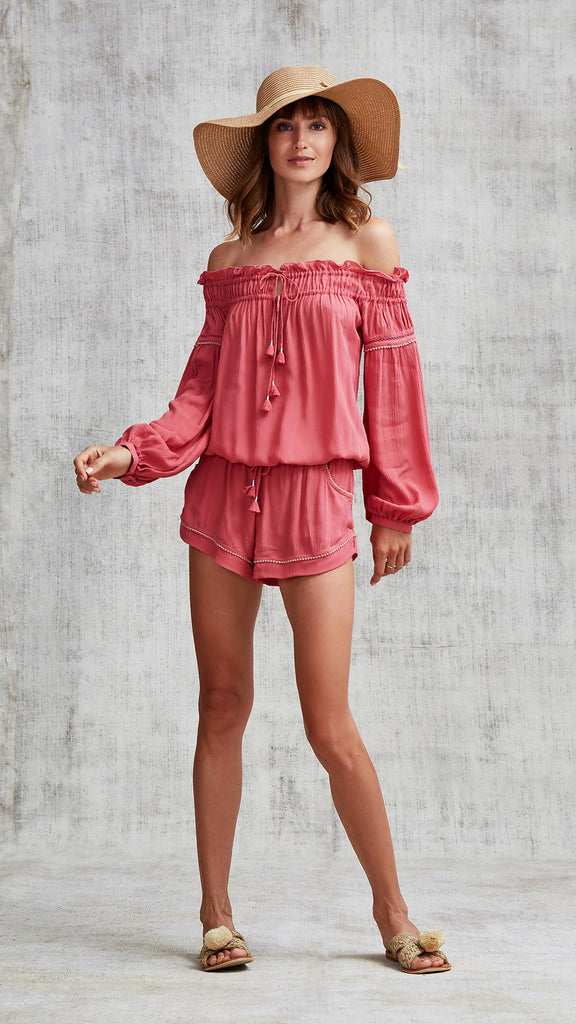SHORT JUMPSUIT CLARA OFF SHOULDER - PINK