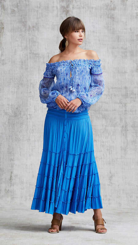 MINI TOP BLOUSE AMORA OFF SHOULDER - BLUE MARGOT