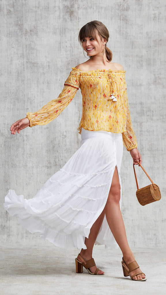 TOP BLOUSE CLARA OFF SHOULDER - YELLOW FANCIFUL