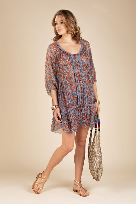 Long Dress Tunic Kimi Ruffled - Blue Pineapple Batik Rombo