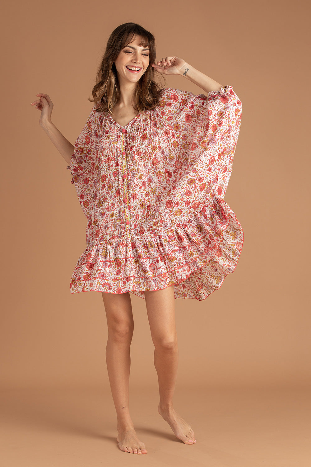 Dress Poncho Foe Ruffled - Pink Naif