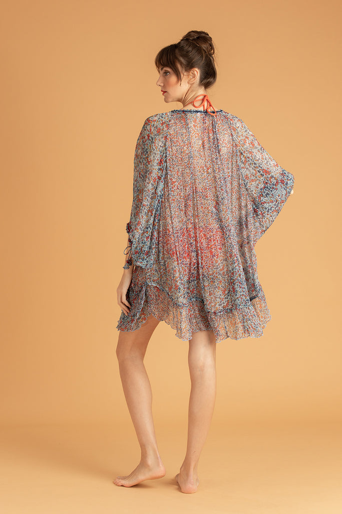 Dress Poncho Foe Ruffled - Blue Glory
