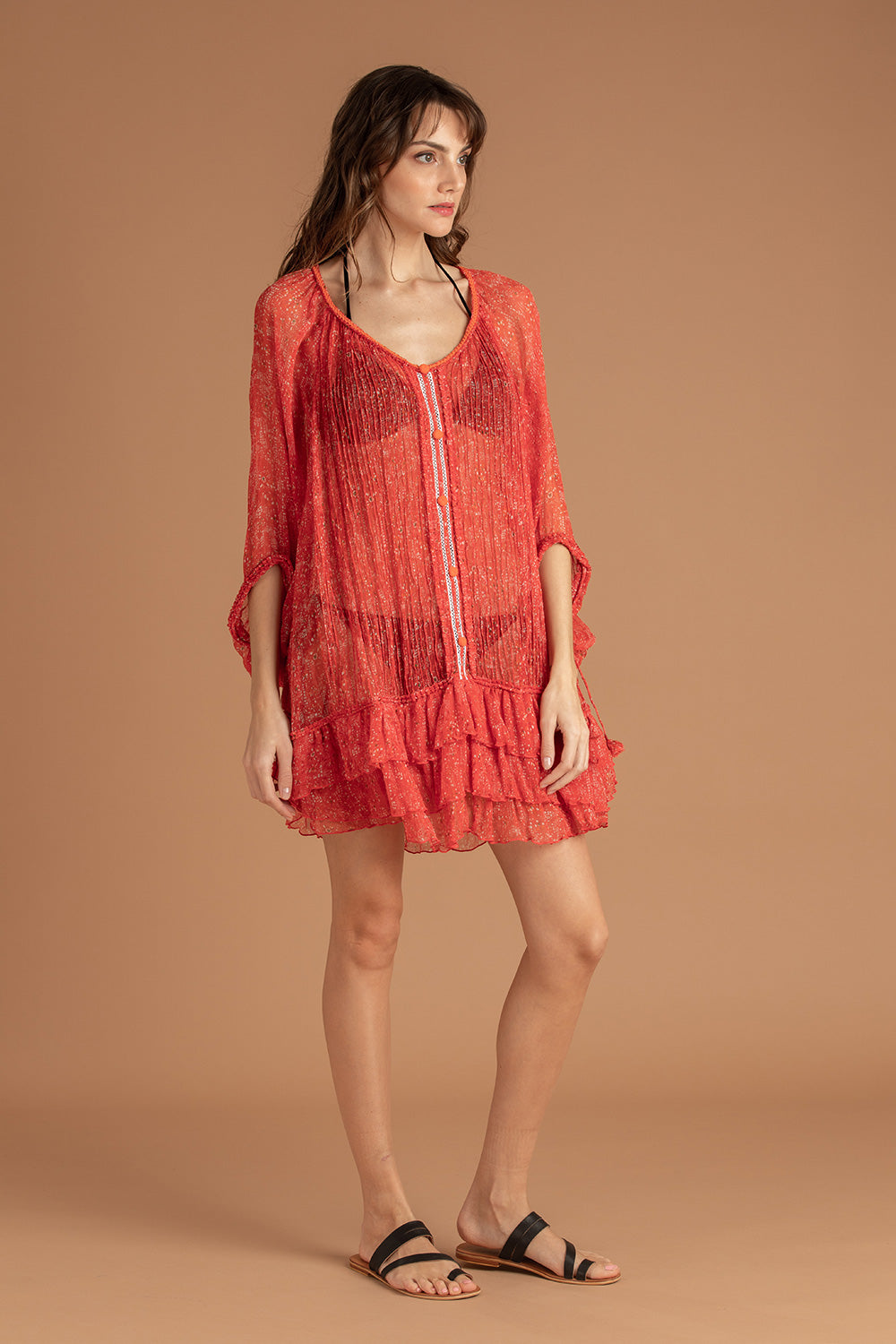 Dress Poncho Foe Ruffled - Pink Amarylis