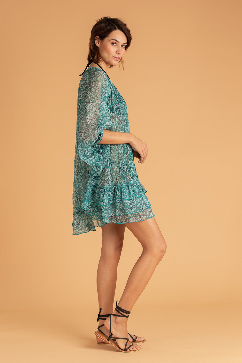 Dress Poncho Foe Ruffled - Aqua Aspen