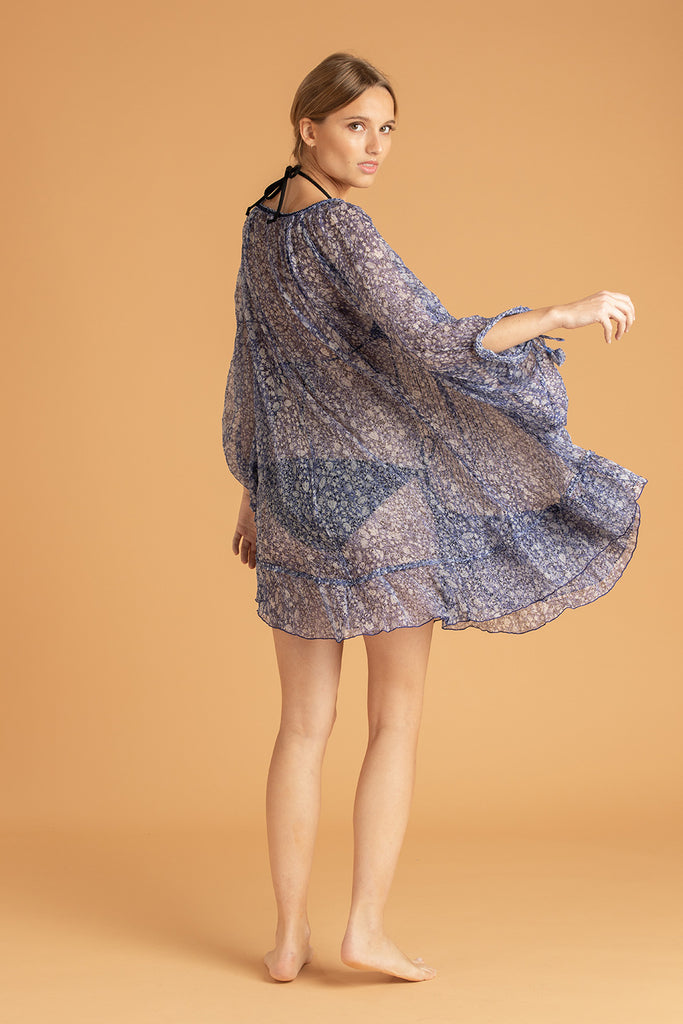 Dress Poncho Foe Ruffled - Blue Aspen
